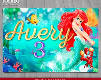 Litte Mermaid Backdrop - Disney Mermaid Poster - PERSONALIZED - Princess Ariel Birthday Decoration Sign Party Printable Signage