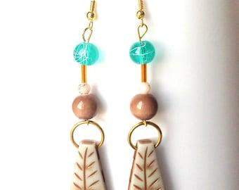 Dangle earrings turquoise, coffee and paprika