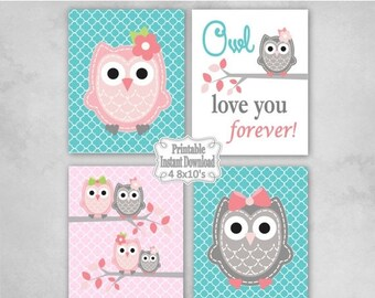 SALE Printable Owls Baby Nursery Wall Art Decor in Pink Turquoise Grey Owls Baby Girl Infant Child Kids ~ DIY Instant Download ~ 4 8x10 Prin