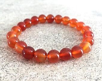 Carnelian bracelet - 0.8 cm round carnelian stone beads