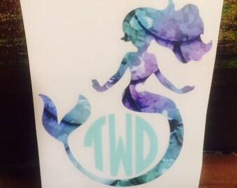 Mermaid Monogram Decal/Mermaid Mono/Mermaid Scales Vinyl/Mermaid Printed Vinyl/Yeti Cup Sticker