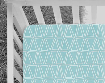 Triangle Pattern, Blue triangles crib Sheet, blue bedding, triangles and blue nursery, geometric pattern, baby bedding, fitted crib sheet