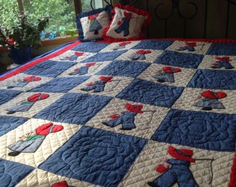 "Vintage Hand-Stitched ""Sun Bonnet Sue"" and ""Over-All Sam"" Twin-Size Quilt with (2) Matching Pillows"
