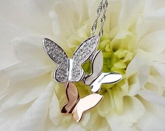 Fine 9ct White & Rose Gold Diamond Butterfly Slider Pendant Necklace