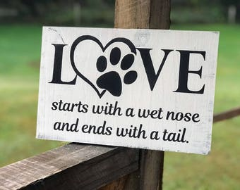 Pet Owner Gift Ideas , Dog Owner Gift Ideas , Wood Sign with Word Love , Rustic Sign about Dogs , Pet Owner Wall Decor