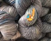 ENAMEL PIN Sock Hand Dyed Australian 80/20 Merino Nylon Revelry Mallee Emu Wren