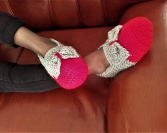 Slippers -  mocassins, handmade grey and red