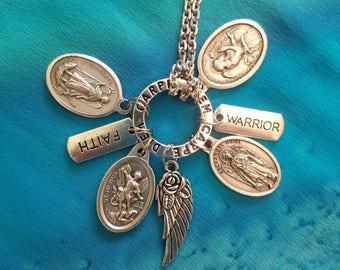 Have Faith Charm Necklace with Archangels Michael, Raphael, Gabriel, Uriel Faith  Warrior Angel Wing charms Steel Spiritual Healing