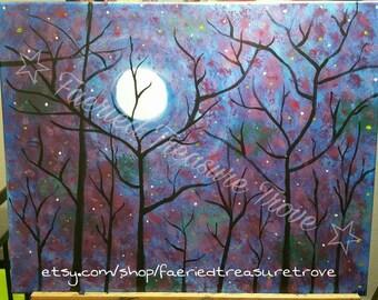 Winter Moon Original Acrylic Painting Art Print