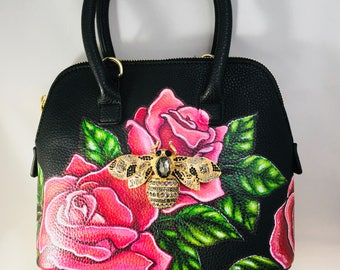 Hand Painted Purse - Painted Pop Art Bag - Hand Painted designer Purse.