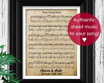 First Anniversary Gift For Him Vintage Sheet Music Art on Velvet Fine Art Paper | 1st Anniversary | First Dance Song Music Notes Framed Art