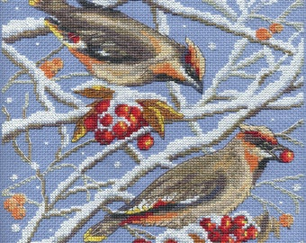 Cross stitch kit Waxwings