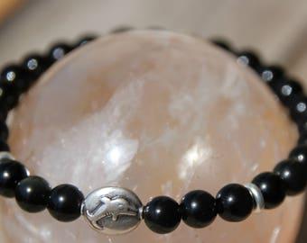 Obsidian Dolphin silver Bead Bracelet