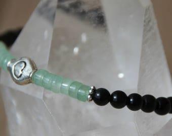 Obsidian and aquamarine bracelet