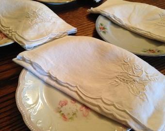 Vintage White Linen Napkins Set of Four