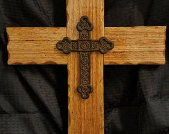 Wooden cross, reclaimed wood cross, cast iron and wood cross