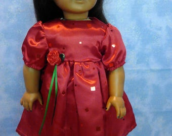 Red Christmas dresses for American girl and My Generation