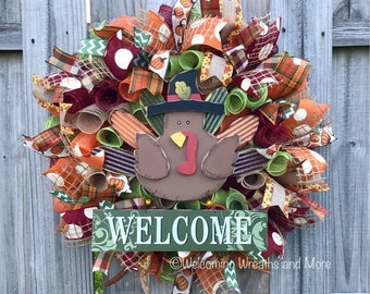 Fall Wreath, Thanksgiving Wreath, Fall Welcome Wreath, Turkey Wreath, Fall Mesh Wreath, Turkey Mesh Wreath, Autumn Wreath