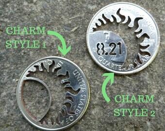 Solar Eclipse Quarter Charm, quarter jewelry, coin jewelry, coin charm, unique, solar, eclipse