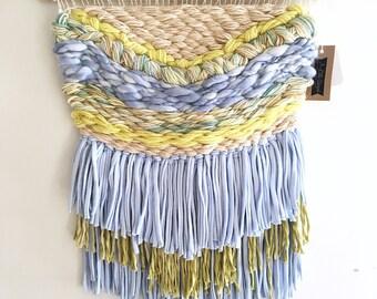 Large Blue Lemon Green Citrus Woven Wall Hanging / Weaving / Tapestry