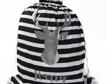 Silver Deer Head Striped Personalised Santa Sack