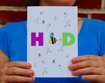 Happy Birthday Card. HBD card. Bee Birthday. Bee cards.