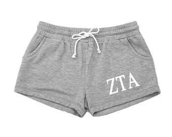 Zeta Tau Alpha Shorts, ZTA Rally Shorts, Vintage Feel Sweats, Zeta Apparel, Zeta Tau Alpha Clothing, Zeta Tau Alpha Apparel, Zeta Athletic