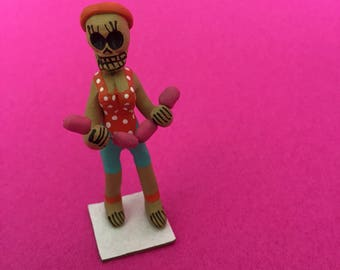 Fitness Workout Queen Doll // Day of the Dead Decoration // Dia de los Muertos Miniatures for Alta