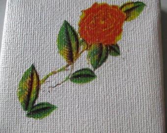 Rose Transfer on white canvas