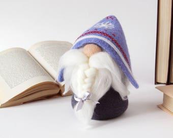 Tomte Nisse, Christmas gnome, norwegian decoration, scandinavian decor toy, woolen elves, swedish needle felted gnome, christmas gift