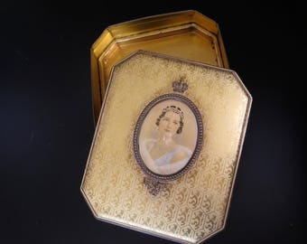 Edwardian Tin Box, Belgian Chocolate Tin Box with Queen Astrid, Cote D'Or Chocolate Box, Collectible Box, Belgian Royal Family