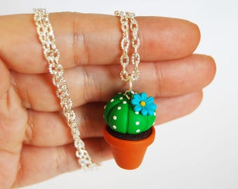 Cactus Succulent necklace in fimo-blue flower-collection CactusLovers