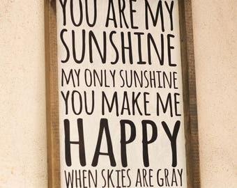 Wood Sign//You Are My Sunshine, Nursery Kids Room Decor