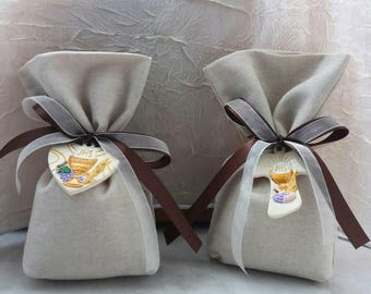Linen favor bag first communion ceramic hand painted plaster decoration