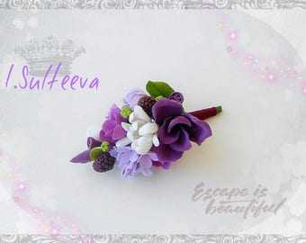 Wedding boutonniere, Boutonniere for groom groomsman purple lilac with blackberries clay flower boutonniere