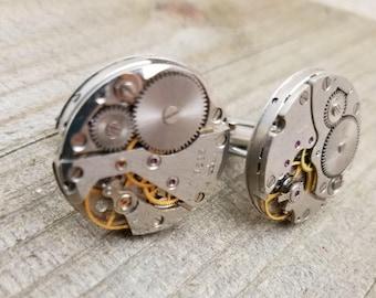 Large Steampunk Watch Gear Cufflinks