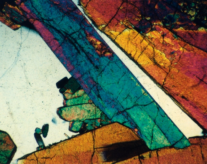 Mineral Photography Prints on Canvas and Paper - Thin Section Art -  Epidote and Quartz, priced from