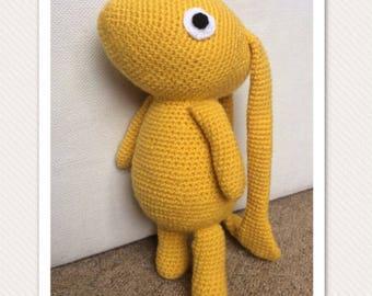 Beegu, Beegu soft toy, Beegu cuddly toy, handmade Beegu, geek baby, Beegu toy, amurigumi Beegu, Beegu book character, yellow Beegu toy
