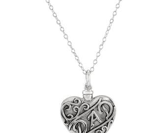"""Sterling Silver """"Dad"""" Heart Ash Holder 18"""" Necklace Jewelry"""