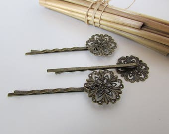 20 hair clips in Playhouse with flower cabochon 20 mm - ref 12.24