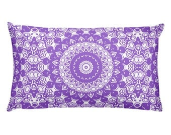Amethyst Pillow, Purple and White Mandala Design Rectangle Cushion, Decorative Throw Pillow, 20x12 Lumbar Pillow