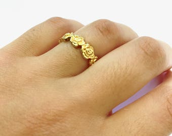 Flower Ring / Handmade / Silver 925 / Sterling / Gold Plated / Jewelry / Jewellery / Gift For Her / Women's Gift Idea / Romantic /