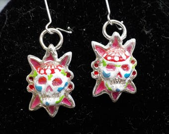 Sterling and Enamel Sugar Skull Earrings for Pierced Ears