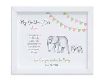 Goddaughter Nursery Art Print, Goddaughter Birthday Gift, Gift from Godparents