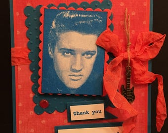 ELVIS CARD Pop Up Thank You Thank You Very Much 3D Realistic Elvis Presley Quote Stampin Up OOAK Mixed Media Handmade