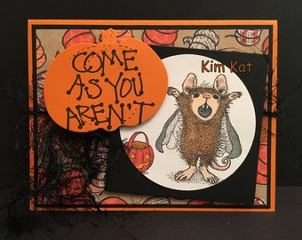 Halloween Card Pop Up 3D House Mouse Vampire Dracula Pumpkin Come As You Aren't Stampin Up OOAK Mixed Media Homemade