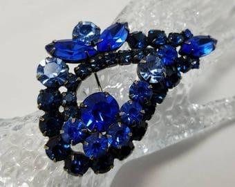 """KRAMER Blue Rhinestone """"Eye"""" Pin"""