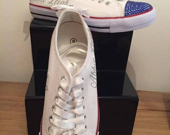 White Bride Pumps, Weddings, Prom,  Personalised Crystal, Converse Style, Bling, ANY NAME