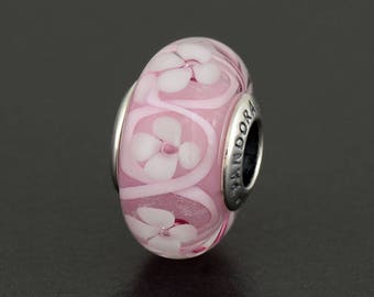 New Authentic Pandora Charm Bead Murano Field of Flowers Pink 791665