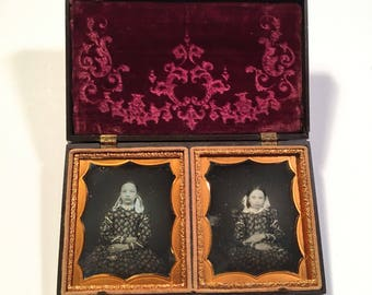 Pair of Sixth-Plate Daguerreotypes of Matching Sisters in Rare Union Case, Double Sixth-Plate Thermoplastic Case